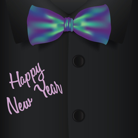 new year party: Bow tie and shirt vector illustration, fashion new year party