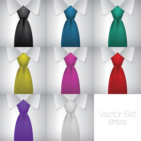 Men tie and shirt vector collection, fashion neckties set