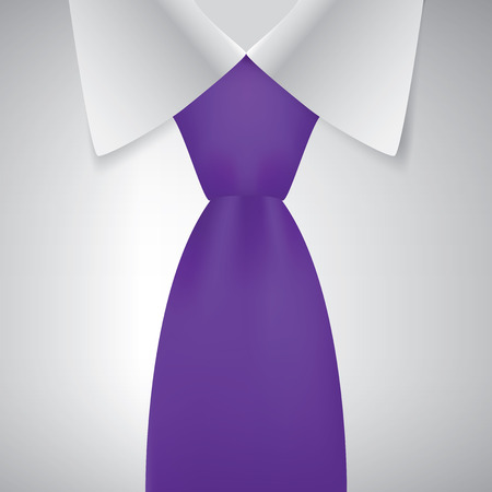 official wear: Realistic necktie and white shirt, vector illustration
