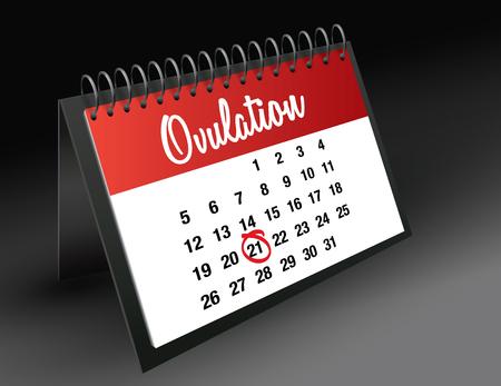 ovulation: Ovulation Day mark on calendar vector illustration Illustration