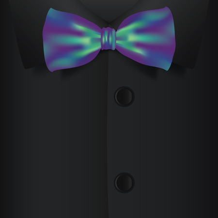 prom dress: Realistic bow tie and black shirt, vector illustration Illustration