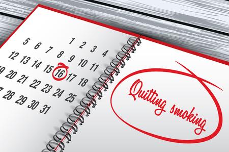 Quitting Smoking Day mark on calendar vector illustration