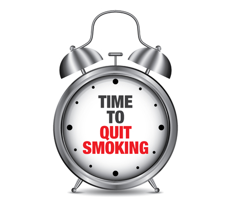 quit: Time to Quit Smoking on retro alarm clock, vector illustration Illustration