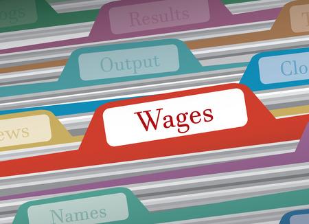 salarios: carpeta de los salarios en el archivo de carpetas de las finanzas personales, ilustración vectorial