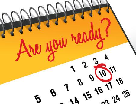 Are You Ready mark on calendar vector illustration
