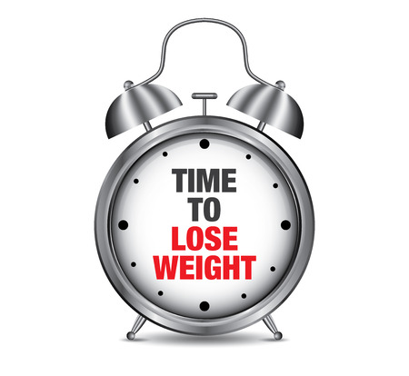 Time to Lose Weight on retro alarm clock, vector illustration