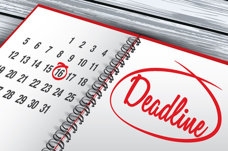Deadline Day mark on calendar vector illustration