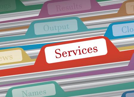 categorize: Services folder in file folders personal finance, vector illustration
