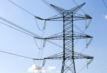 high tech: High voltage transmission tower or power tower, electricity pylon