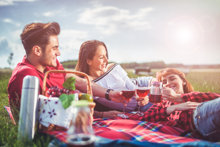 Happy friends enjoying picnic at sunny day, young people having fun during vacation Banco de Imagens