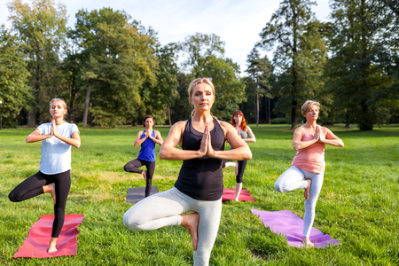 Instructor performing yoga exercise with mixed age group of people outside in the park Imagens