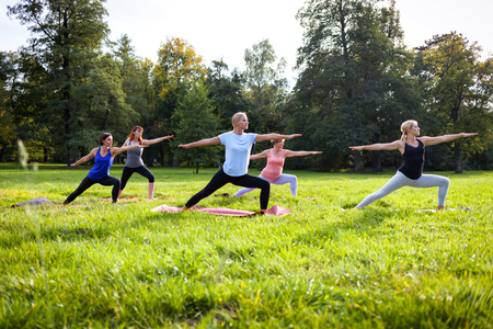 Mixed age group of people practicing yoga outside in the park