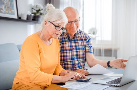Senior couple checking bills using laptop at home Reklamní fotografie - 127359275