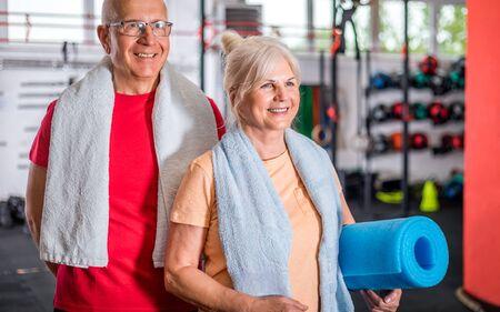 Senior couple ine the fitness club 写真素材