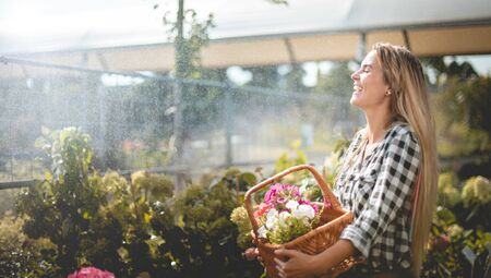 Smiling customer walking along path in garden center between rows of plants