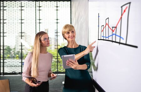 Two business woman talking about chart gives presentation at conference room