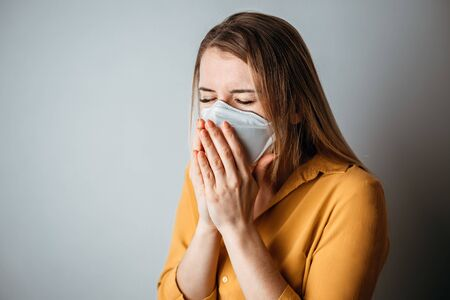 Virus mask ill woman coughing