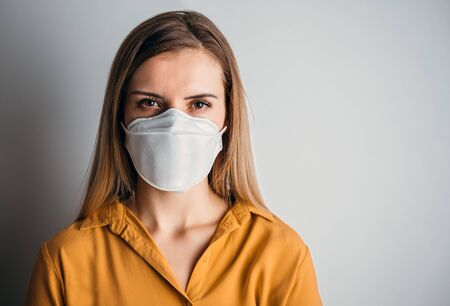 Virus mask woman wearing face protection in prevention for coronavirus
