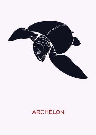 Archelon. Ocean inhabitants. Minimal Concept Poster - vector.