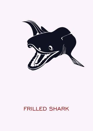 Frilled shark. Ocean inhabitants. Minimal Concept Poster - vector.