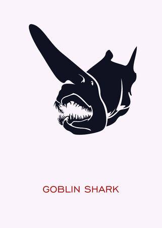 Goblin shark. Ocean inhabitants. Minimal Concept Poster - vector. Иллюстрация
