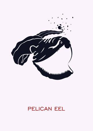 Pelican eel. Ocean inhabitants. Minimal Concept Poster - vector.