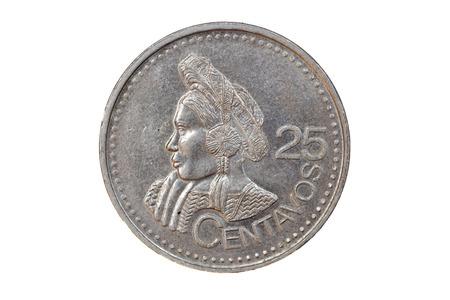 25 cents: Guatemalan Coin Stock Photo