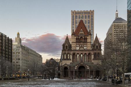 Sunset in Copley Square, Boston Stock Photo