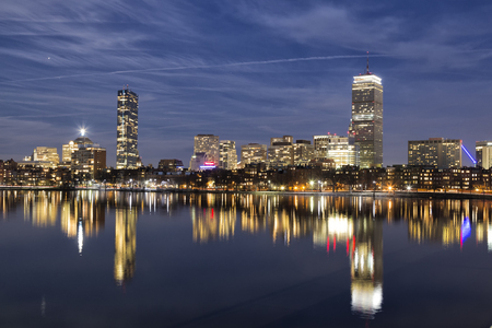 Boston Skyline Night Stock Photo