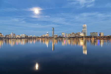 Boston Skyline Night Stock Photo