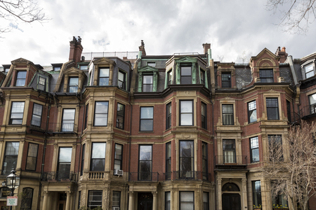 Windows of building in Boston Stock Photo