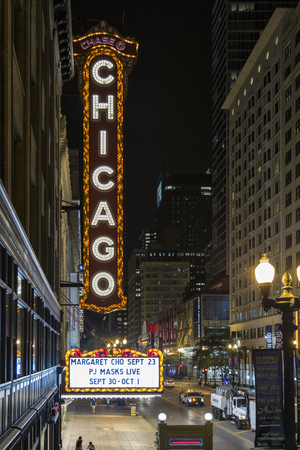 The Chicago Theater Sign 新聞圖片