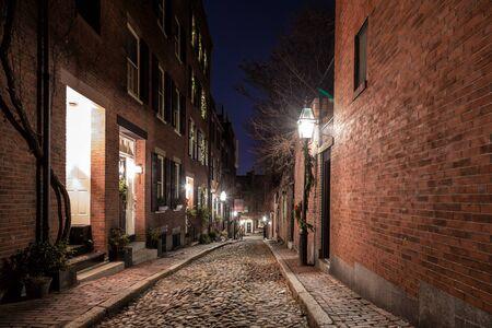 Una noche de Navidad en Boston Foto de archivo