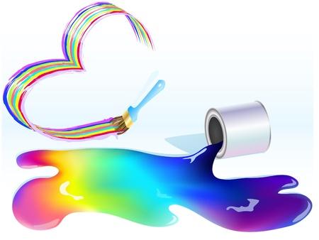 verfblik: multi-gekleurde verf gemorst uit een blikje Stock Illustratie
