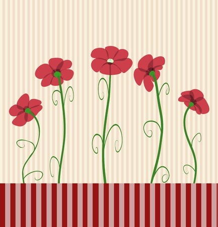 whorls: Five red poppies