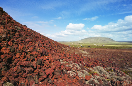 solidified: Red Solidified Lava in Iceland