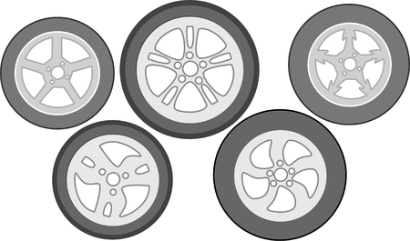 Set of aluminium wheels for car icon.