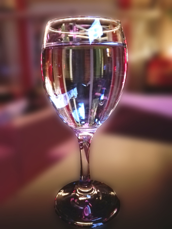 in restaurant, glass for water and for wine