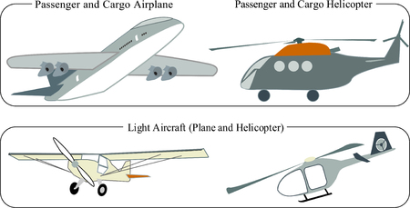 Airplanes and helicopters passenger and cargo icons Иллюстрация