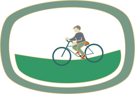 Boy rides a bicycle template