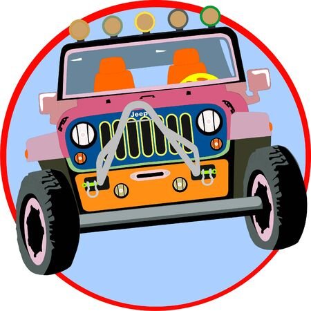 Off road Jeep vehicle car transport or car race in pink color romantic appearance Illustration