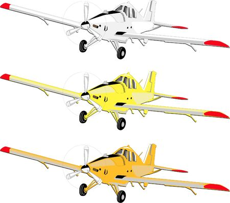 Plane from general agricultural aviation in three colors, yellow, white and orange Векторная Иллюстрация