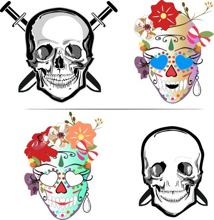 Skull as character, black and white skull and color Mexican catrina