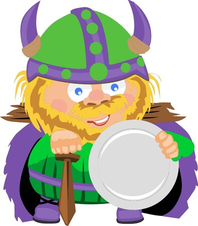 Viking cartoon character with sword and shield