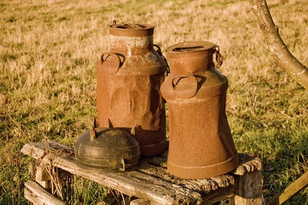 Two old milk jugs standing on a old bench photo