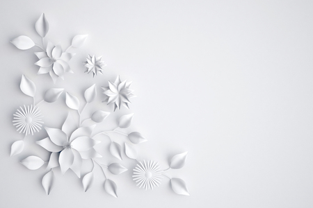 White paper flowers background, wedding decoration, greeting card Stock Photo