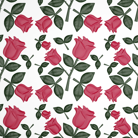 Floral seamless background with red roses and green leaves