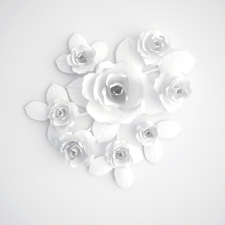 White paper flowers, greeting card, 3D illustration