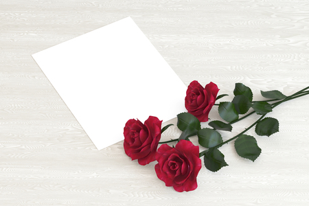 Blank card with flowers on a wooden table, mock up, 3D illustration