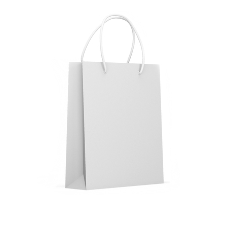 Mock up white paper package isolated on a white background. Blank paper bag